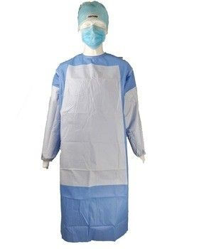 Surgeon Disposable Surgical Gown , Lab Blue Plastic Isolation Gowns PP PE Material